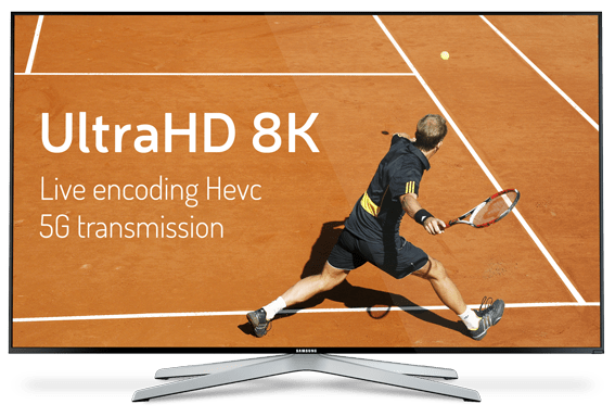 TV featuring ultra HD 8K tennis match in Live